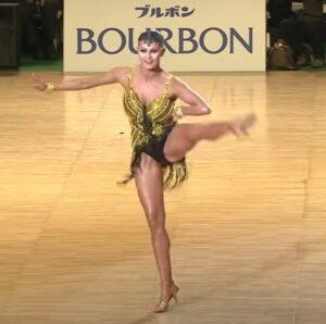 vestido baile latino con flecos